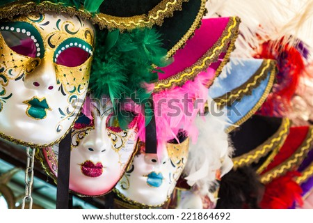 Souvenirs and carnival masks on street trading in Venice, Italy - stock photo