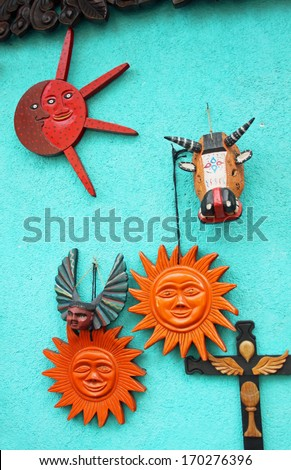 Souvenirs for sale at a market stall, Antigua, Guatemala  - stock photo