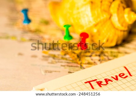 Souvenirs from travels. In yellow tones - stock photo