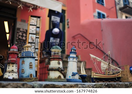 Souvenirs in Five lands, Cinque Terre National Park. Beautiful view of Vernazza - a Fishing village in the National park of Cinque Terre, Italy. Colorful harbor at Vernazza, Cinque Terre, Italy.  - stock photo