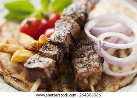 Souvlaki or kebab - stock photo