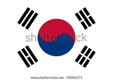 Sovereign state flag of country of South Korea in official colors. - stock photo