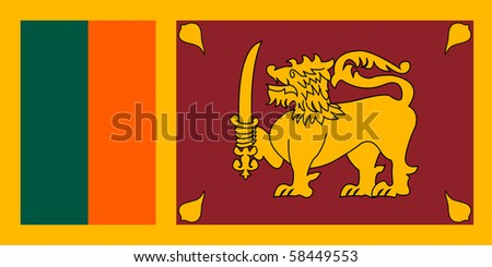 Sovereign state flag of country of Sri Lanka in official colors. - stock photo