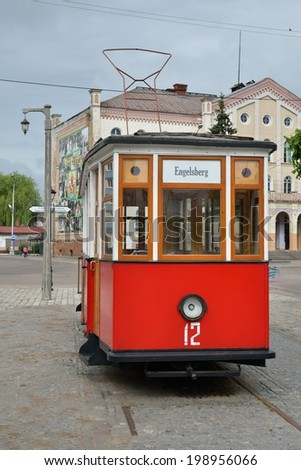 SOVETSK, RUSSIA - JUNE 12, 2014: The monument Tilzit tram - installed on the Central square of Sovetsk, line Tilzit electric tram existed in the city since July 26, 1901 until October 1944.