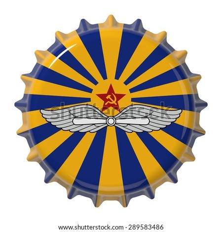 Soviet Air Force flag on bottle cap. 3D rendering - stock photo