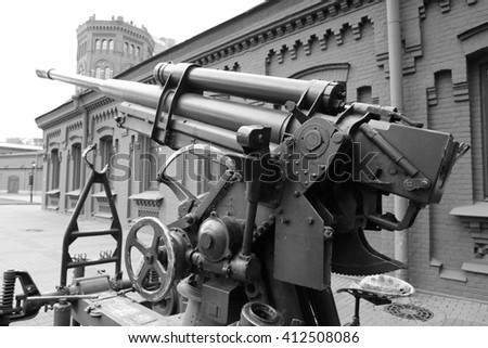 Soviet anti-aircraft gun of the Second World War in St.Petersburg, Russia. Black and white.