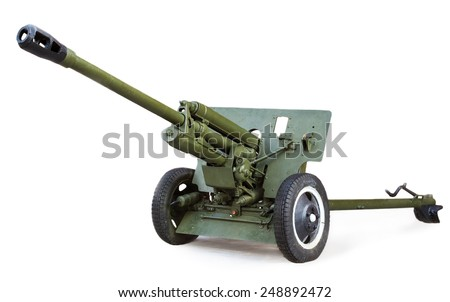 Soviet anti-tank 76 mm gun of the Second World War, ZIS-3 isolated on white background - stock photo