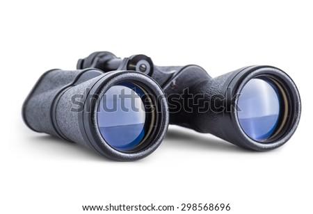 Soviet army binoculars isolated on white - stock photo