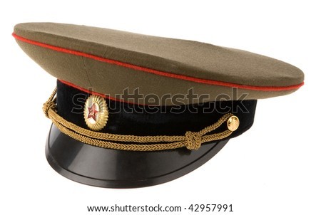 soviet army cap isolated on white