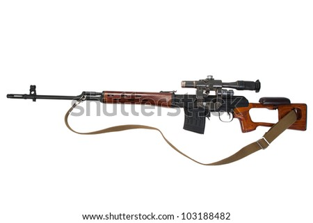 soviet army Dragunov sniper rifle with optic sight - stock photo