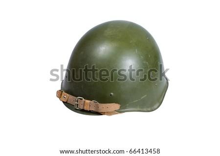 Soviet army Helmet Second World War isolated on white - stock photo