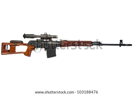 soviet army sniper rifle SVD by Dragunov with optic sight - stock photo