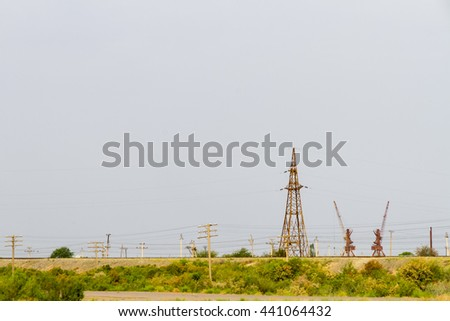 Soviet era infrastructure, towers and loch gates for the Karakorum Canal, Turkmenistan.