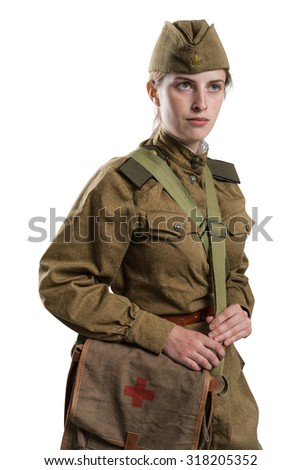 Soviet female military medic of the Second World War. isolated on white background - stock photo