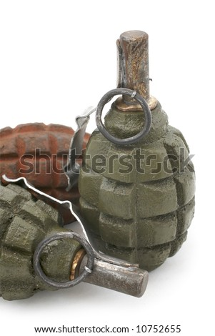 Soviet hand grenades (slang - pineapples) isolated over a white background.  Fragmentation hand grenade, very effective used during the Second World War (both side Soviet and German soldiers) - stock photo