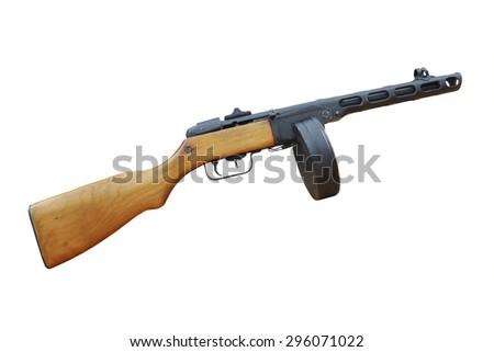 Soviet machine-gun from World War II isolated on white - stock photo