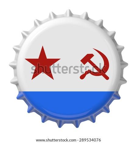 Soviet Navy flag on bottle cap. 3D rendering - stock photo