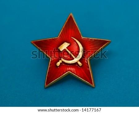 soviet red star badge - stock photo