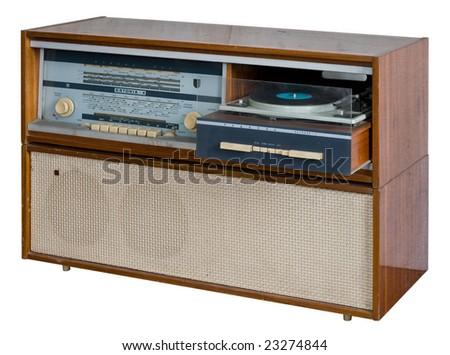 Soviet retro radio-gramophone of late sixties - stock photo