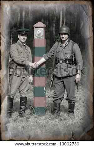 Soviet state border. Before war. WW2 re-enacting
