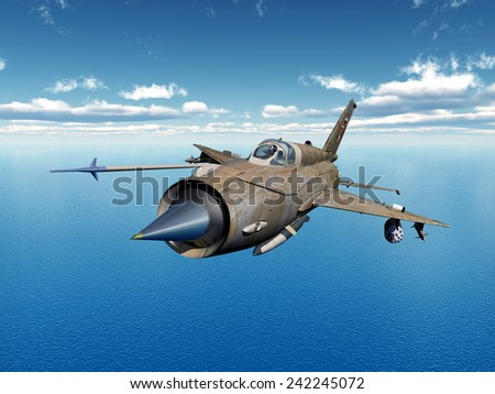 Soviet supersonic jet fighter aircraft of the cold war Computer generated 3D illustration - stock photo
