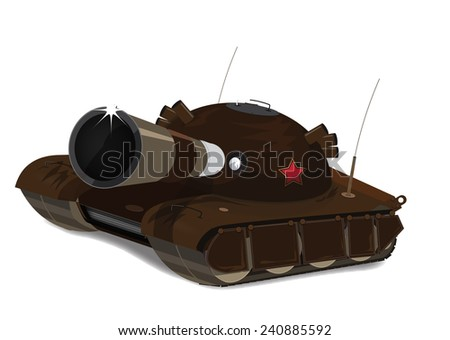 Soviet Tank. A large soviet or russian tank with barrel facing towards you, this is a detailed russian tank. - stock photo