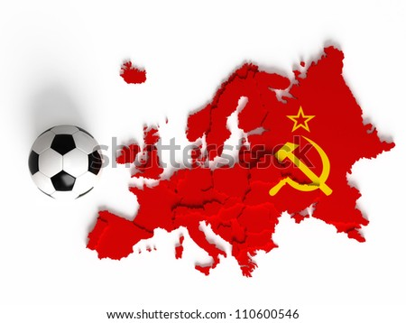 Soviet Union flag on European map with national borders, isolated on white background - stock photo