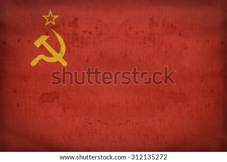 Soviet Union flag pattern on fabric texture,retro vintage style