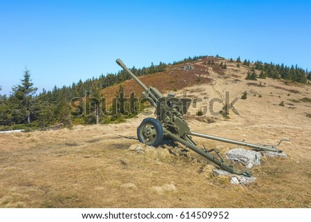 Soviet World War 2 Era Gun in Mala Fatra Mountains near Zilina as Memorial of Battle That Took Place Here in April 1945, Slovakia