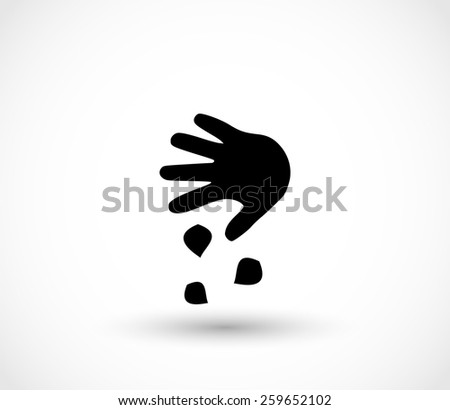 Sowing the seeds, hand, icon - stock photo