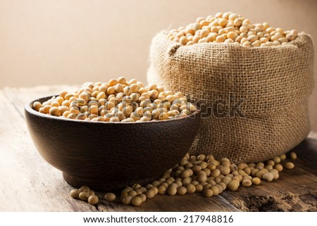 Soy beans in a Bowl - stock photo