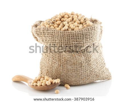 Soy beans in a sack isolated on white - stock photo