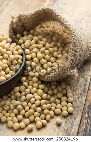 Soy beans in hessian bag