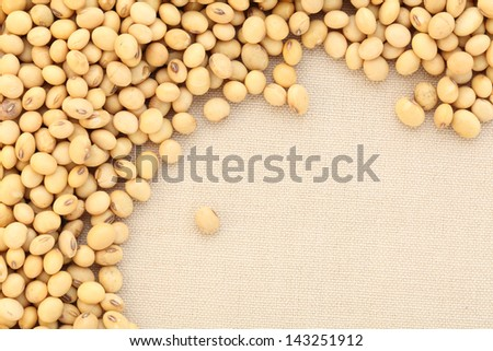 soy beans on canvas background - stock photo