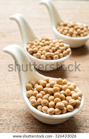 Soy beans on wooden desk