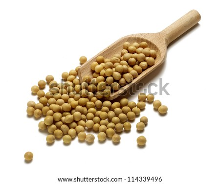 Soy beans with wooden spoon on white background - stock photo