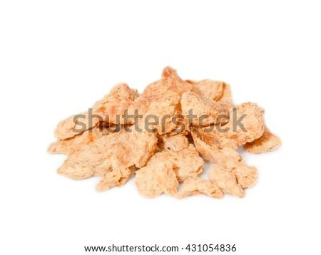 Soy chunks isolated on white background - stock photo