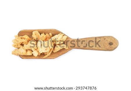 Soy granules on shovel - stock photo