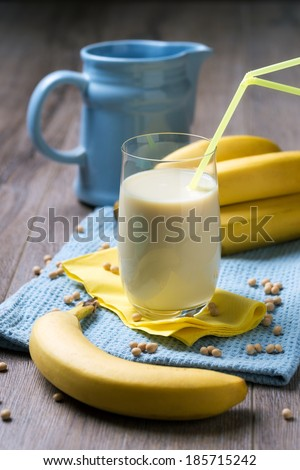 soy milk with banana flavour - stock photo