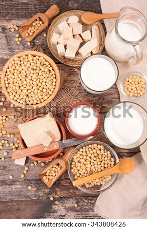 soy product; milk,yogurt,sauce,tofu - stock photo