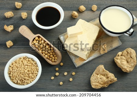 soy products gray background - stock photo