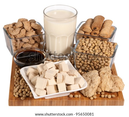 Soy products isolated on white background - stock photo