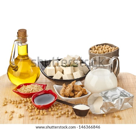 Soy products : oil, milk, tofu, meat, sauce, isolated on white background  - stock photo