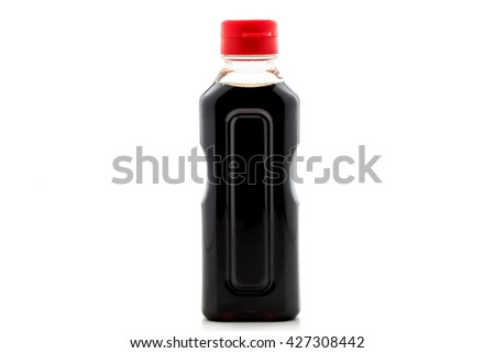 soy sauce bottles isolated on white background  - stock photo