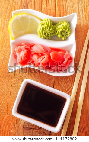 soy sauce for sushi - stock photo