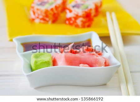 soy sauce,ginger and vasabi - stock photo