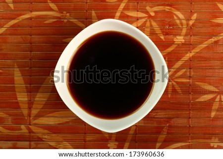 Soy Sauce in bowl. Directly Above. - stock photo