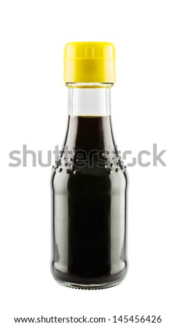 Soy sauce in glass bottle isolated on white background - stock photo