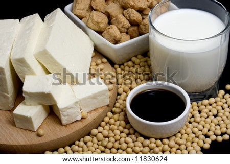Soy sauce, tofu and other soy products - stock photo