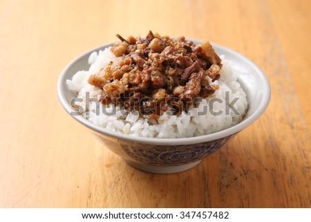 soy-stewed pork rice, Braised pork rice - stock photo
